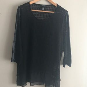 Alfani black light knit tunic /chiffon hem L